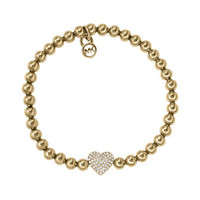 Michael Kors Pave-Heart Bead Bracelet, Golden