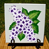 Floral Painting Purple Lilacs On Green Canvas