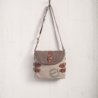 MONA B BUCKLED UP UPCYCLED CANVAS SMALL CROSSBODY BAG PURSE