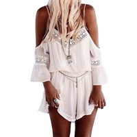SUNNOW® Women's Bohemian Off Shoulder Backless Lace One Piece Short Jumpsuit
