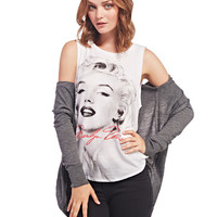 White Marilyn Monroe Print Sleeveless Tee