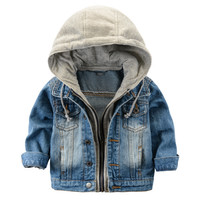 Children's Jacket Denim Boys Hooded Jean Jackets Girls Kids clothing baby coat Casual outerwear 2015 New Brand factory