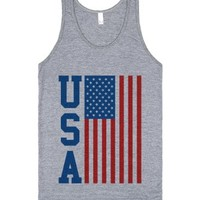 Usa Flag Tank Top Vertical (id6120229)-Unisex Athletic Grey Tank