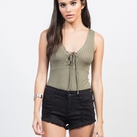 Lightly Rib Knit Lace-Up Bodysuit