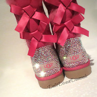 Blinged Out PINK Bailey Bow Uggs w/ Swarovski Crystals- PINK  Uggs with Crystal Bling