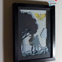 Zelda Link framed hand paper cut, special wall decor, unique gift, video game home decor, video game wall decor, video game gift, geek gift