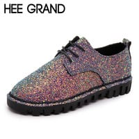 HEE GRAND Bling Gitter Creepers Platform Oxfords Shoes Woman 2016 Lace-Up Flats Fashion Casual Women Flat Shoes XWD4461