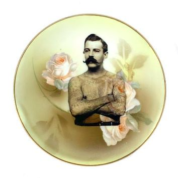 Antique Altered Plate Tattoo Man