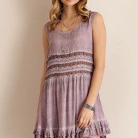 Acid Washed Dress - Berry