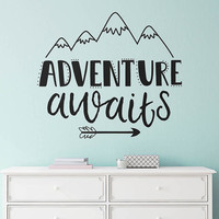 Adventure Awaits Wall Decal - Nursery Decal, Wall Quote, Modern Decal, Cute Wall Decor, Inspirational Quote