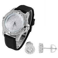 Hip Hop Iced Out Techno Pave Men's White Gold Tone Watch Silicone strap & Earrings Combo