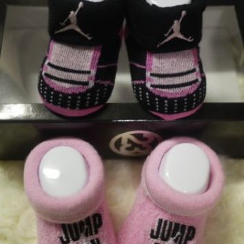 2 Pair Set Pink and Black Nike Infant for 0-6 Months Newborn Baby with Jordan's Logo