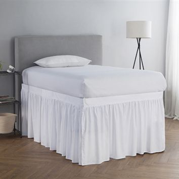 Dorm Sized Bed Skirt Panel with Ties - White