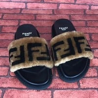 Fendi Fur Women Fashion Slipper Flats Shoes
