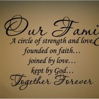 "Our Family a Circle of Strength and Love Wall Vinyl Sticker Decal Home Decor Lettering (22"" by 20"") Made in USA"