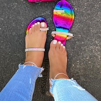New fashion all-match flat flip flops student sandals and slippers