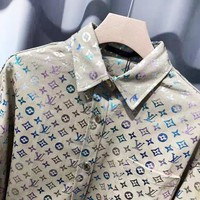 LV Louis Vuitton New fashion multicolor reflective monogram print high quality couple long sleeve top shirt coat