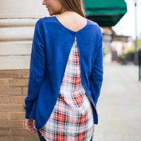 Plaid About It Sweater, Navy