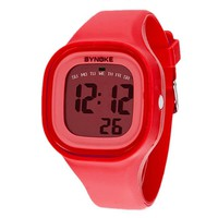 Silvercell Women Sports LED Digital Silicone Band Waterproof Wrist Watch Red