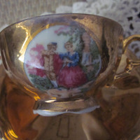 Vanilla Scent - Soy Candle in Vintage Arnart Creations Gold Demitasse cup and saucer