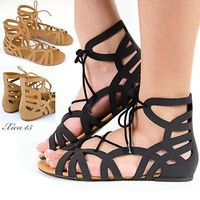 Women's Sandals Gladiator Ankle Caged Cutout Design Lace Up Flat Sandal New