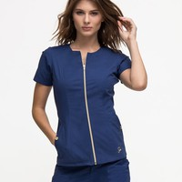 The Biker Top in Estate Navy Blue - Medical Scrubs by Jaanuu