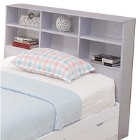 Wooden Full Size Bookcase Headboard with 6 Open Shelves, White