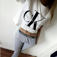 """Calvin Klein"" Women Casual Letter Print Short Sleeve Trousers Set Two-Piece Sportswear"
