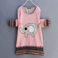 Cute Pink Elephant Bow T-shirt &Sweater