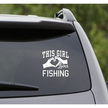 This Girl Loves Fishing Decal Sticker Car Window Truck Laptop