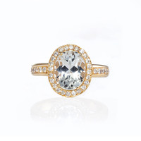 Erica Courtney - Sophie Gold Engagement Ring with an Oval-Cut Diamond |