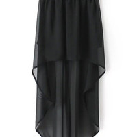 Black High Low Elastic Waist Skirt