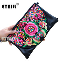 PU Leather Vintage Ethnic Hmong Thai Indian Embroidered Bag Day Clutches 2016 Boho Hippie Embroidery Wristlet Bag Clutch Purse