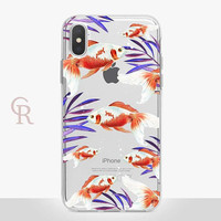 Koi Fish Clear Phone Case - Clear Case - For iPhone 8 - iPhone X - iPhone 7 Plus - iPhone 6 - iPhone 6S - iPhone SE Transparent - Samsung S8