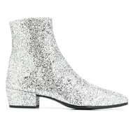Silver Glitter Chelsea Boots by Saint Laurent