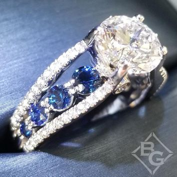 Simon G. Contemporary Cathedral Blue Sapphire & Diamond Engagement Ring