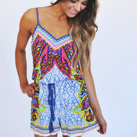 BLUE FEATHER PRINT ROMPER