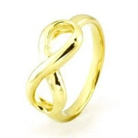 TIONEER Sterling Silver Iconic Classic 14K Gold Plated Infinity Ring, Size 5