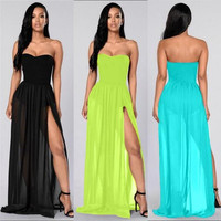 S-XL Chiffon Strapless Side Slit Long Dress