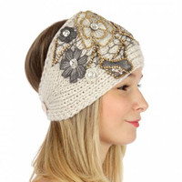 FALL WINTER HEADBAND Headwarmer Earwarmers Sequin embellished flower knit headband