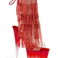 Stripper Ankle Boots With Simulated Rhinestone Fringe-Stripper Boots