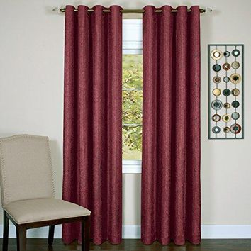 Ben&Jonah Collection Taylor - Lined Grommet Window Curtain Panel - 50x63 Burgundy