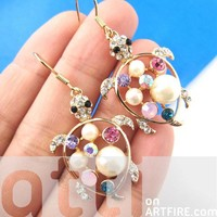 Cute Turtle Tortoise Sea Animal Pearls and Rhinestones Dangle Earrings