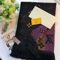 Inseva Louis Vuitton classic women's fine fashion trend scarf F-TMWJ-XDH black+purple