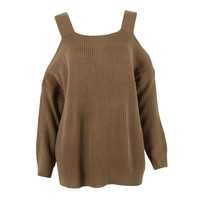 Fashion Women Sweater Wool Strapless Bat Sleeve Sweater Pullover Solid Kintted Sweaters NW