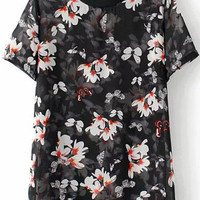 Black Short Sleeve Floral Printed Sheer Blouse