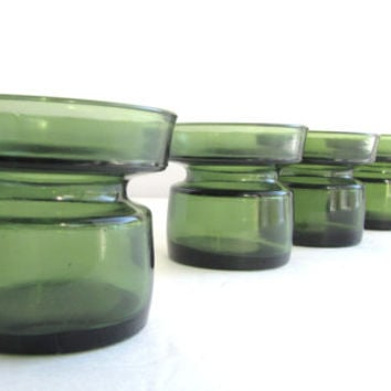 vintage Dansk IHQ Candle Holders Set of 4 Olive Green Scandinavian Glass
