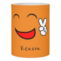 Personalized Name Peace Sign Smiley Face Orange Flameless Candle