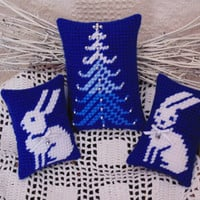 Arctic Bunnies and Pine Tree SET, Needlepoint Mini Pillows,Christmas Bowl Fillers, Winter Rabbits, Beaded Pine Tree, Nordic Style Home Decor