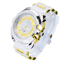 Iced Out 14k Gold Plated Silicone Band Techno Pave Watch